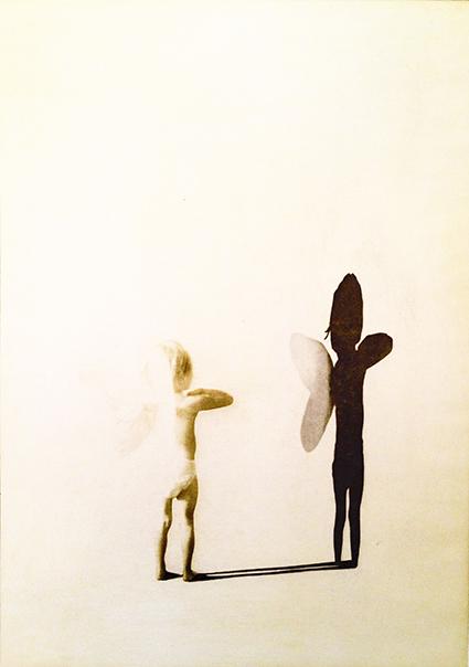 Änglar,  en grafisk bild i fotopolymer av ett barn med vingar och skugga, av Annette Ronàld