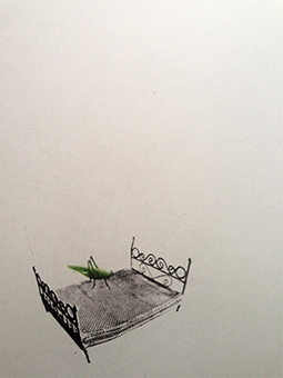 Sängen är en grafisk bild i fotopolymer på en säng och en gräshoppa av Annette Ronàld